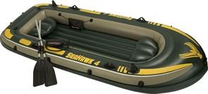 Надувная лодка Intex 68351 4-х местная Seahawk 4 Set + аллюминиевые весла, насос, подушки