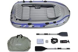 Надувная лодка Intex 68324 4-х местная Excursion 4 Set + аллюминиевые весла, насос, надувные сиденья