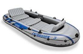 Надувная лодка Intex 68325 5-ти местная Excursion 5 Set + аллюминиевые весла, насос, надувные сиденья