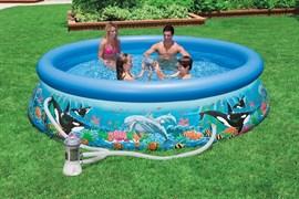 Надувной бассейн Intex 28136 с надувным верхним кольцом + фильтр-насос (366х76см)