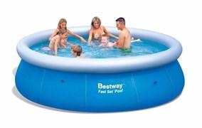 Круглый надувной бассейн Bestway 57309 с надувным верхним кольцом (366х91см)