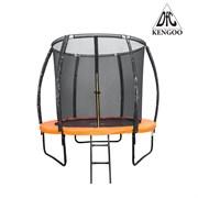 Батут 6 футов DFC KENGOO с внутренней сеткой и лестницей, оранжево/черный (183 см)