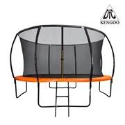 Батут 10 футов DFC KENGOO с внутренней сеткой и лестницей, оранжево/черный (305 см)