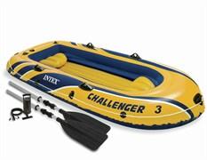 Надувная лодка Intex 68370  3-х местная Challenger 3 Set + весла, насос, подушки
