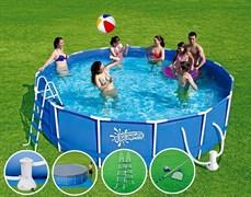 Каркасный бассейн SummerEscapes P20-1442-B + фильтр-насос, лестница, тент, подстилка, набор для чистки DELUXE, скиммер (427х107см)