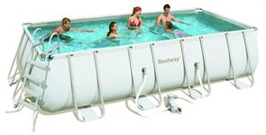 Каркасный бассейн Bestway 56466/56256 + песочный фильтр-насос, лестница, тент,  подстилка  (549х274х122см)