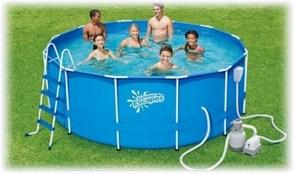 Каркасный бассейн Summer Escapes P20-1352-S + песочный фильтр-насос, лестница, тент, подстилка, набор для чистки DELUXE, скиммер (396х132см)