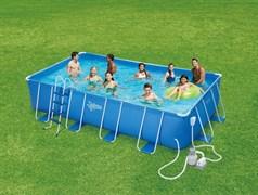Каркасный бассейн Summer Escapes P20-2052-S + песочный фильтр-насос, лестница, подстилка, тент, набор для чистки DELUXE, скиммер (549х274х132см)