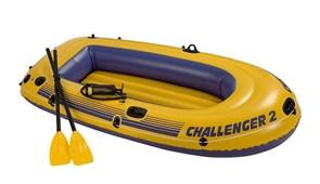 Надувная лодка Intex Challenger-2 Set 68367 + пластмассовые весла, насос