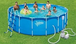 Каркасный бассейн Summer Escapes P20-1452-S + песочный фильтр-насос, лестница, тент, подстилка, набор для чистки DELUXE, скиммер (427х132см)