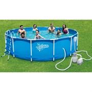Каркасный бассейн Summer Escapes P20-1548-S + песочный фильтр-насос, лестница, тент, подстилка, набор для чистки DELUXE, скиммер (457х122см)