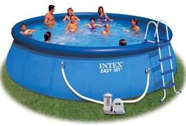 Надувной бассейн Intex 28176/54920 с надувным верхним кольцом + фильтр-насос, лестница, тент, подстилка (549х122см)