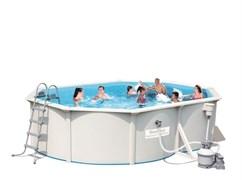 Каркасный бассейн со стальными стенками BestWay 56586 + песочный фильтр-насос, подстилка, лестница (500х360х120см)