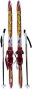 Детский комплект лыж + палки с насечкой рост 110