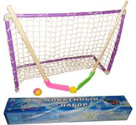 Хоккейный набор (2 клюшки детск. + шайба + мячик + ворота с сеткой) в коробке