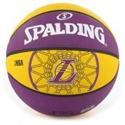 Мяч баскетбольный SPALDING Los Angeles Lakers р. 7, резина, фиолетово-желтый