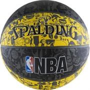 Мяч баскетбольный SPALDING NBA GRAFFITI р. 7, резина, серо-черно-желтый