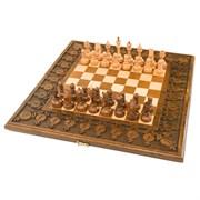 Шахматы + нарды резные с гранатами 50