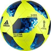 Мяч футбольный ADIDAS WC2018 Telstar Glider, р. 4, цв. сине-черно-желтый