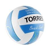 Мяч волейбольный TORRES Beach Sand Blue, р.5, синт. кожа