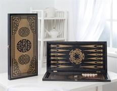 """Нарды большие черные, рисунок золото """"Китайский орнамент"""" 151-17"""