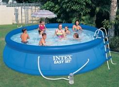 Надувной бассейн Intex 26166 с надувным верхним кольцом (457х107см) + фильтр-насос 220В лестница, настил, тент