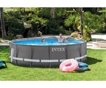 Каркасный бассейн Intex 26330 (549х132см) + песочный фильтр-насос, лестница, тент, подстилка