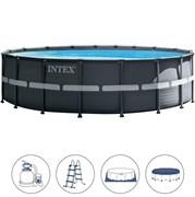 Каркасный бассейн Intex 26334 (610х122см) + песочный фильтр-насос, лестница, тент, подстилка