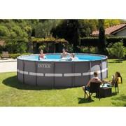 Каркасный бассейн Intex 26340 (732х132см) + песочный фильтр-насос, лестница, тент, подстилка