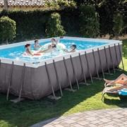 Каркасный бассейн Intex 26368 (732х366х132см) + песочный фильтр-насос + хлоргенератор, лестница, тент, подстилка, волейбольная сетка, набор для чистки