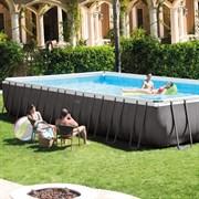 Каркасный бассейн Intex 26378 (975х488х132см) + песочный фильтр-насос + хлоргенератор, лестница, тент, подстилка, волейбольная сетка, набор для чистки