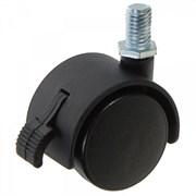 Колесо мебельное болтовое крепление (М8) 40 мм с тормозом (черный пластик) М084-40Т