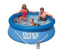 Надувной бассейн Intex 28112/56972 с надувным верхним кольцом + фильтр-насос (244 x 76см)