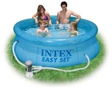 Надувной бассейн Intex 54912 с надувным верхним кольцом + фильтр-насос (244х76см)