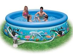 Надувной бассейн Intex 28126/54902 с надувным верхним кольцом + фильтр-насос (305х76см)