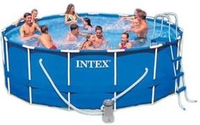 Каркасный бассейн для дачи Intex 28236 + фильтр-насос, лестница, тент, подстилка (457х122см)