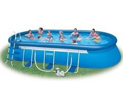 Надувной бассейн Intex 28194 с надувным верхним кольцом + фильтр-насос, лестница, тент, подстилка (610х366х122см)