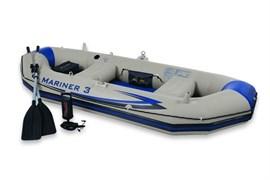 Надувная лодка Intex 68373 3-х местная SetMariner 3 + аллюминиевые весла, насос, надувные сиденья